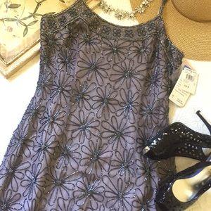 NWT Adrianna Papell Daisy Beaded Slip Dress